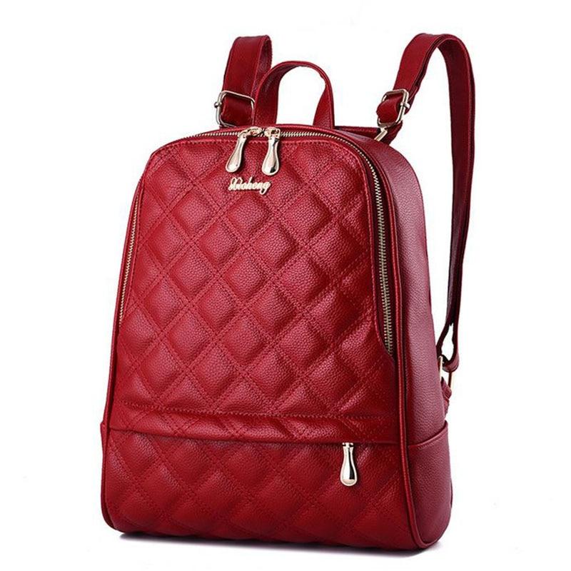 2017 New Designer Backpacks Diamond Lattice Women bag Senior Leather Lovely Girls Schoolbag Backpack Women s