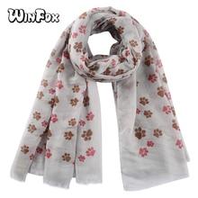 Winfox Fashion Pink Blue Dog Paw Print Scarf Women Shawl Hijabs Spring Soft Wrap