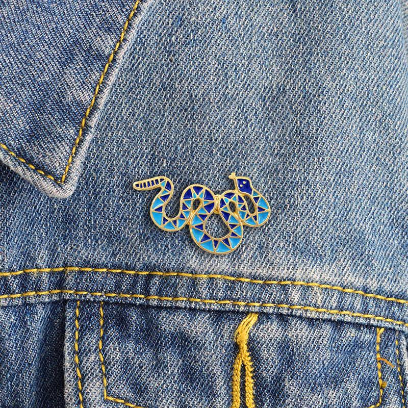 Модный синий треугольник геометрический узор Змея Брошь витая Кобра индивидуальный кронштейн джинсы шпильки с отворотом значок