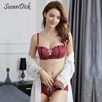 SusanDick Half Cup Bra And Panty Set Woman Push Up Lace Lingerie Set Quality Female Transparent Underwear Set Sexy Intimates