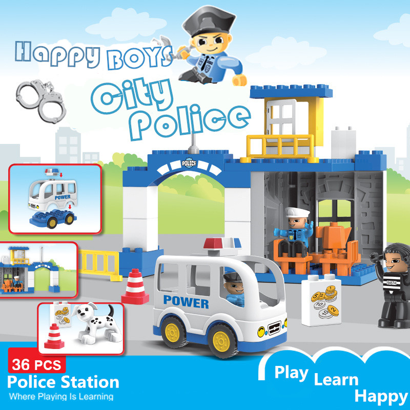 Diy Police Station Large Particle City Policeman Building Blocks Bricks Toys For Children Compatible With Duploed Kids Ifts
