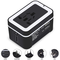 2 USB ALL IN One Universal Adapter Surge Protector Socket Plug For Traveling With World Wide