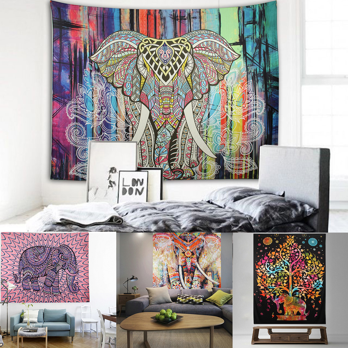 Elephant Mandala Tapestry Throw Towel Hippie Tapestry Floral Printed Home Decor Wall Tapestries Bedspread 210*150CM 4