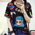 2016 Camisa Anime Anime COOL Patrón Adorable Feminina Verano Camisa Mujeres Niñas Dulce Lolita Japón Kawaii Superior Femenina Camiseta