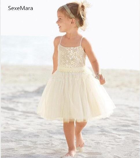 Nouveauté 2 4 6 8 ans a-ligne Spaghetti genou longueur Tulle ivoire fleur fille robe enfants robes pour mariage