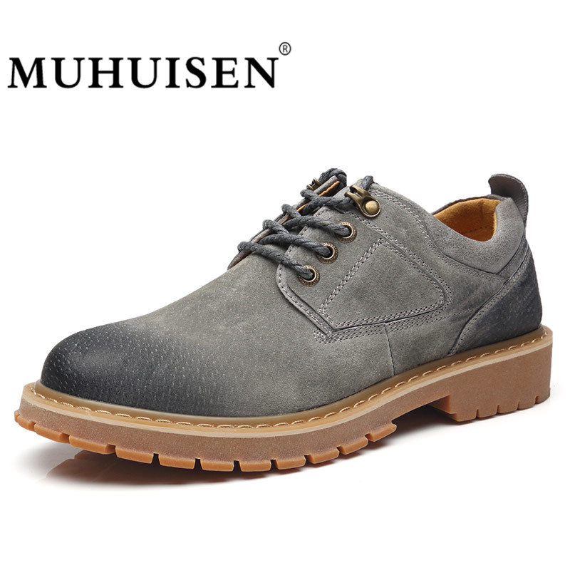MUHUISEN Fashion Men Casual Shoes Lace-Up Waterproof Suede Male Oxfords Genuine Leather Classic Shoes Creepes Flats pjcmg new arrival oxfords men shoes genuine leather wingtip carved lace up vintage fashion wedding business male shoes men flats