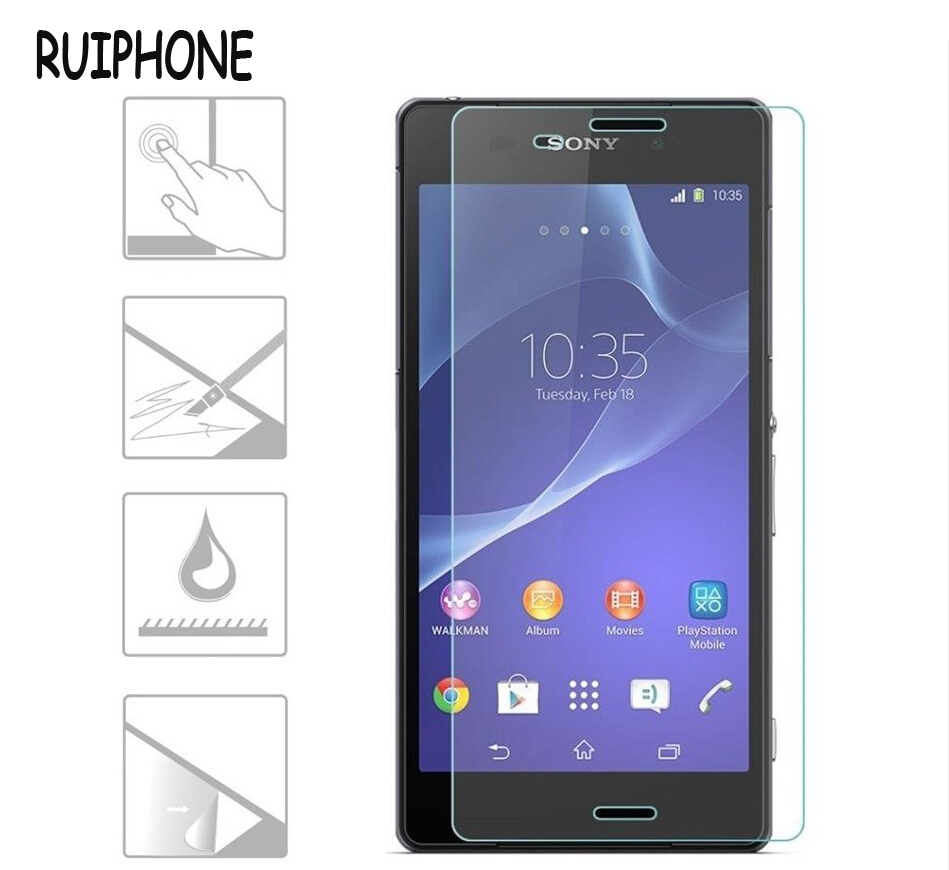Premium Tempered Glass For SONY <font><b>Xperia</b></font> Z3 Screen Protector D6603 D6643 D6653 9H Anti Explosion Guard Protective Glass Film