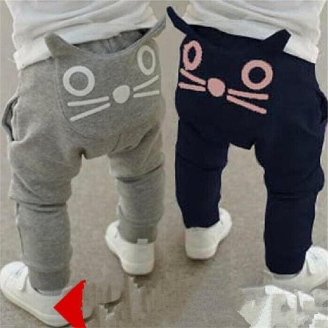 2016 niños niñas otoño pantalones de dibujos animados gato bebé harem pantalones niños ropa niños Pantalones pantalon garcon 1- 4 años