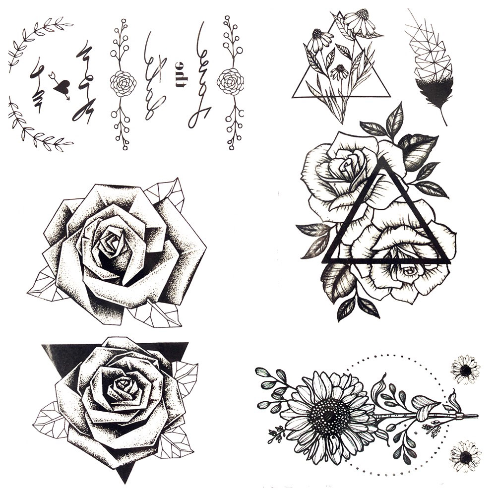 Rose Tattoofor Arm To Chest: 3D Black Triangle Rose Leaf Feather Temporary Tattoo Body