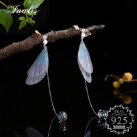 INALIS Colorful Butterfly Earrings Long Chain Charm 925 Sterling Silver Drop Earrings Female 2 Styles Pendientes