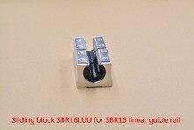 SBR16LUU алюминиевого блока 16 мм линейный Motion шарикоподшипник ползун использование матч SBR16 16 мм линейный направляющей 1 шт.