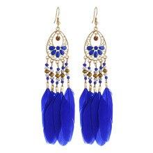 Ajojewel 13cm Long Earrings Tassel Bohemian Wind Feather Earrings For Women With Rice Beads Boucles d'oreilles цена в Москве и Питере