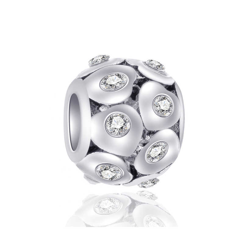 Luxurious Crystal Flower Bow Love Heart Mickey Mouse Beads Fit Pandora Charms Bracelets for Women DIY Making Jewelry Bijoux Gift