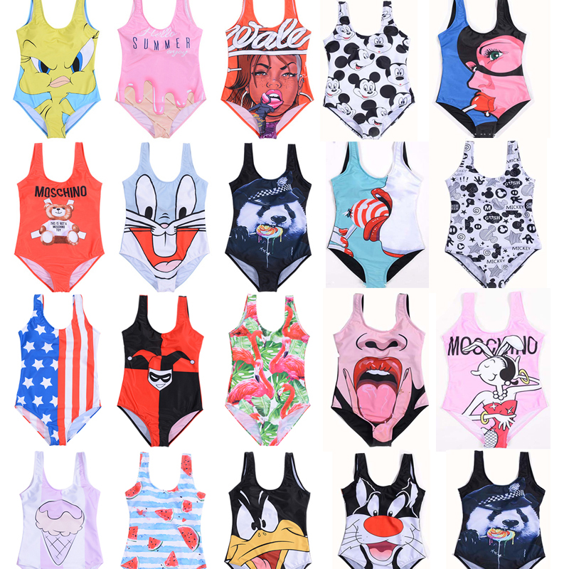 Bikinis Set Monokini 3D Print Swimwear Flag Women Sexy Push Up 2019 Swimsuit Cartoon America Bathing Beachwear Brazilian Bikini