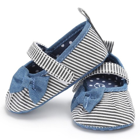 Newborn Baby Girls Shoes Butterfly-knot Kids First Walkers Shoes Infant Babe  Soft Bottom Striped Shoes Lahore