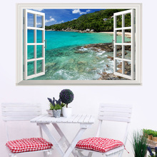 False window Coastal islands landscape 3D wall sticker PVC Waterproof poster For Living Room Bedroom Home Decor murals
