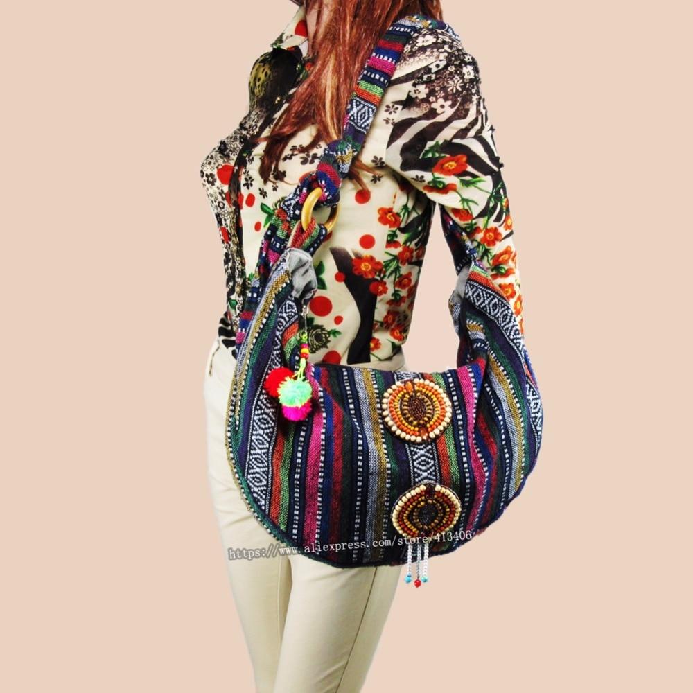 Vintage hmong Boho Tribal Ethnic Thai Indian Boho hand bag messenger purse bag hobo tote bag pom bead trim sys 1015