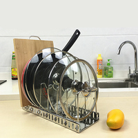 Adjustable Pot Lid Rack 304 Stainless Steel Cutting Board Pan Holder Goods Dish Rack Storage Tool For Kitchen Organizer