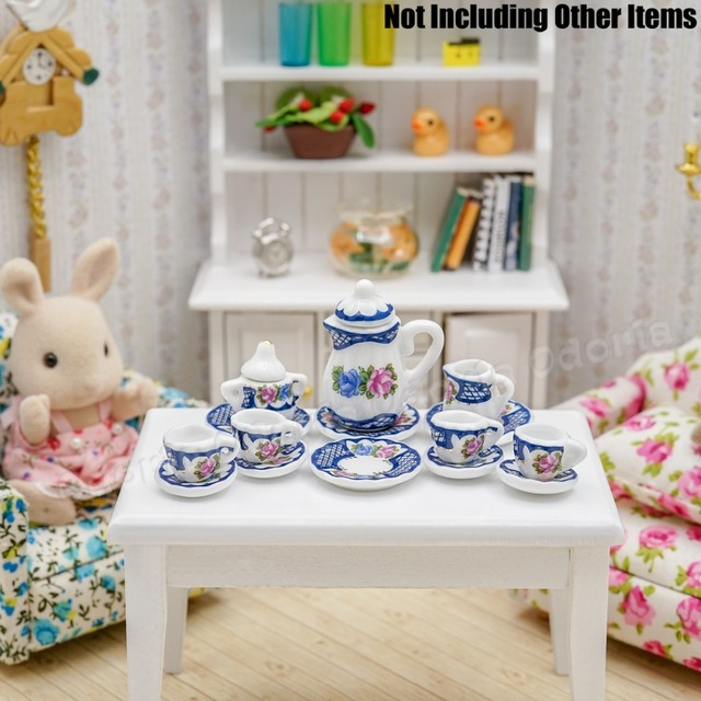 Odoria 1:12 Miniatur 15 stücke Porzellan Tee Tasse Set Blau Geschirr ...