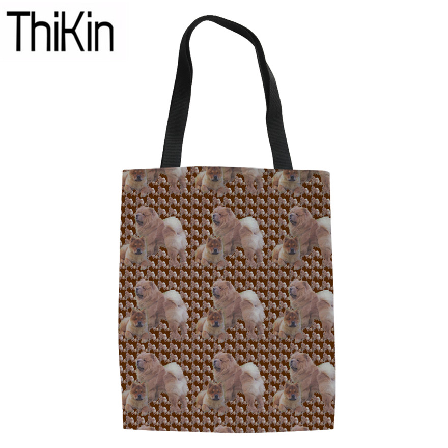 THIKIN Canvas Tote Bags Women Chow Dog Printing Foldable Shopping Bags Ladies Heavy Duty Shopper Bag For Females Shoulder Bags