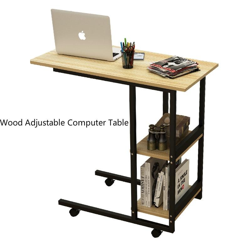 Y289 Bois Table D'ordinateur Réglable Multifonction ordinateur portable Table Mobile Bureau D'ordinateur Avec Poulie