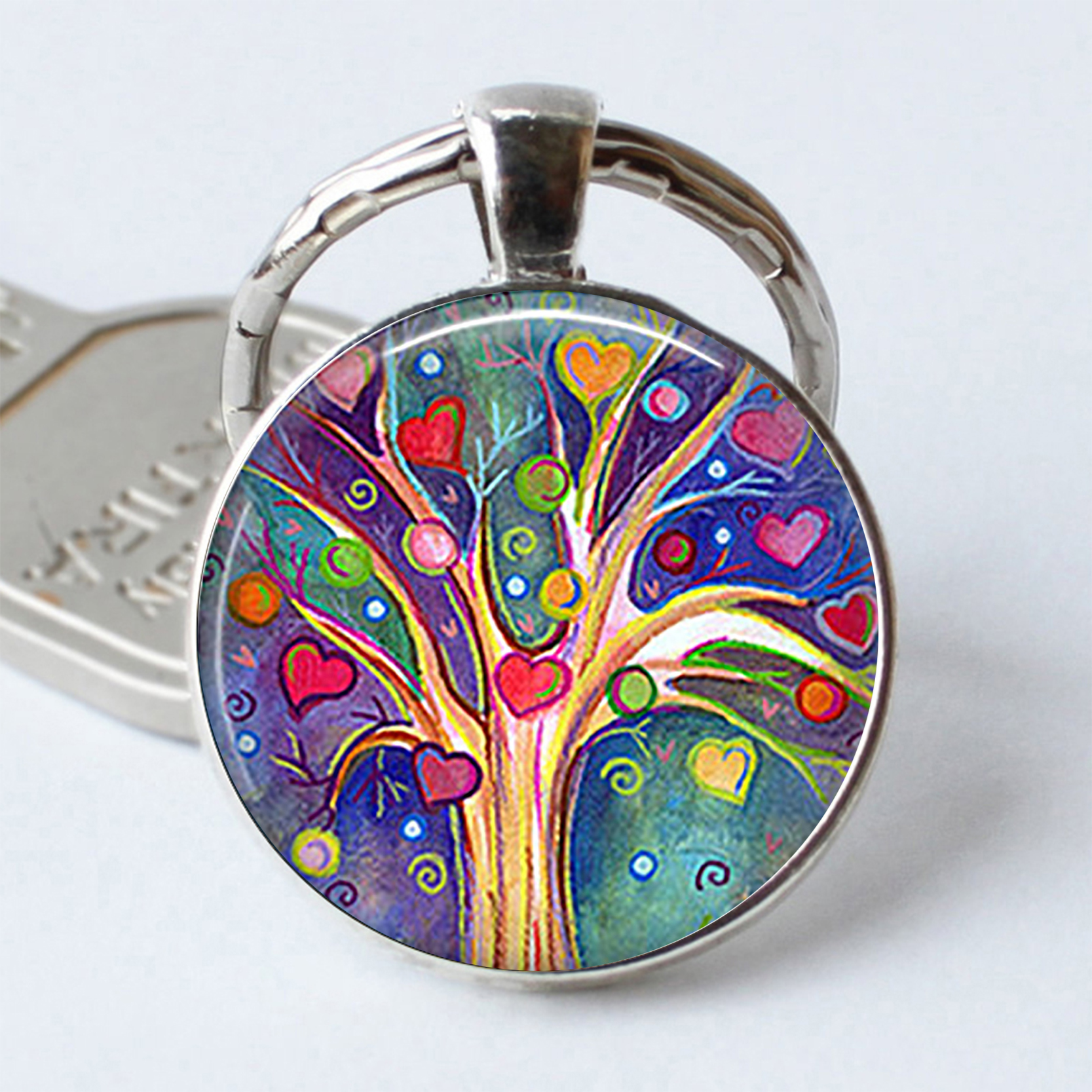 Tree Of Hearts Keychain Tree Of Hearts Keyring Valentine's Gift Romantic Gift Tree Key Chain Ring Resin Jewelry Cabochon Glass
