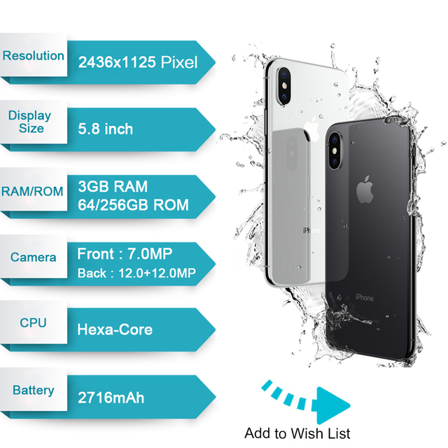 Original Apple iPhone X Face ID 64GB/256GB ROM  3GB RAM 12MP Hexa Core iOS A11 5.8 inch Dual Back Camera 4G LTE Unlock iphone x
