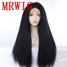 MRWIG 26in 180%Density Kinky Straight Synthetic Front Lace Wig Free Part Black/Brown/Blonde