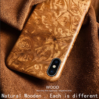 Natural Wooden phone case FOR Iphone XS case cover black ice wood,Pomegranate wood,Walnut,Rosewood For XS MAX For XR