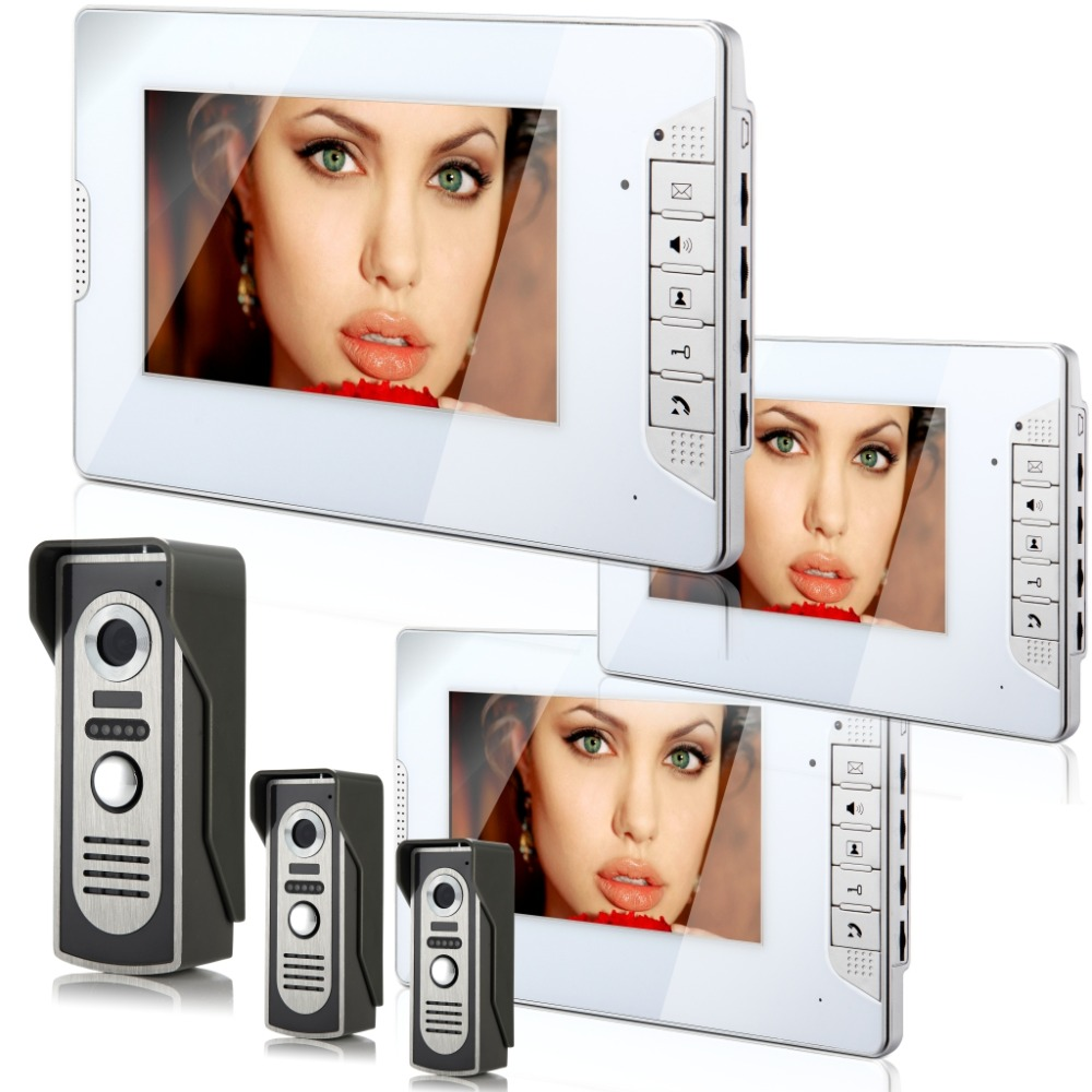 YobangSecurity 7 inch Color LCD Wired Video Door Phone Doorbell Home Entry Intercom Kit System 3 Monitor 3 Camera