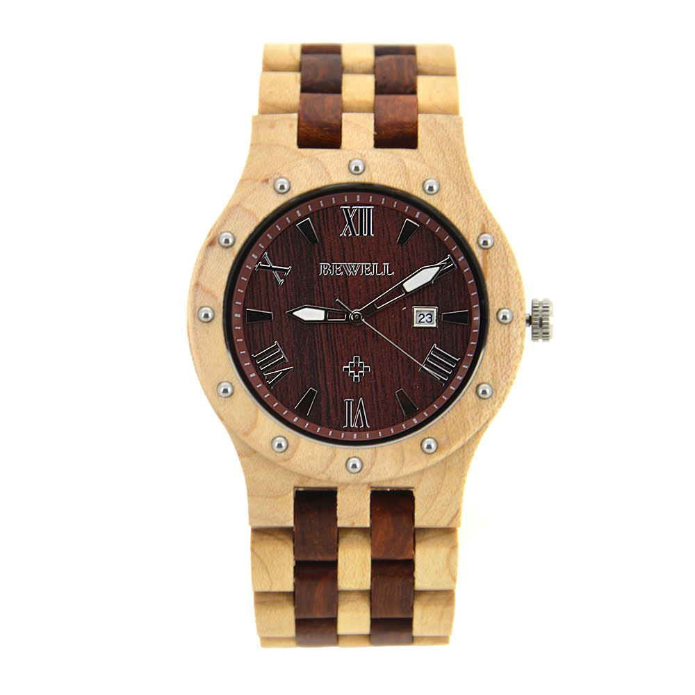 BEWELL Mens Wooden Watches Quartz Wristwatch Luminous Hands Three Pointers with Calendar Display 10 Different Colors 109 цена и фото