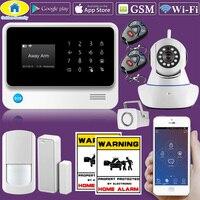 Золотой безопасности G90B Wi Fi 2 г/м² WCDMA Wi Fi сигнал Системы дома охранной сигнализации Системы комплект 720 P Wi Fi IP камера