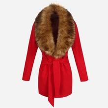 Women Winter Thicken Coat Big Fur Collar Elegant Long Outwear Belt Long Sleeved Coat Women Clothes Wool Coat Female Coats