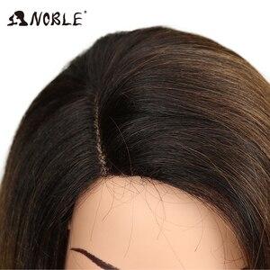 Image 5 - Noble court BOB perruque pour les femmes cheveux synthétiques partie latérale dentelle 18 résistant à la chaleur haute température fibre sans colle Ombre perruque droite