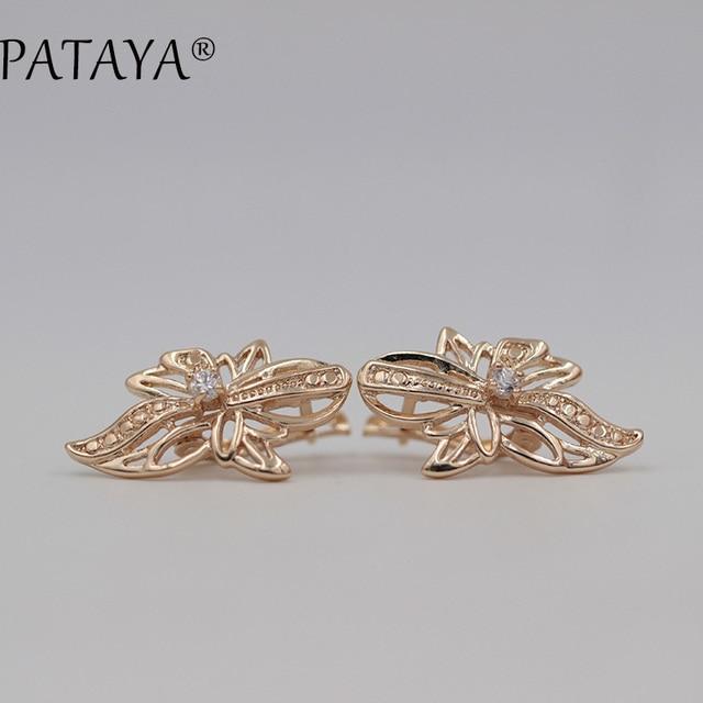 pataya trendy ohrringe 585 rose gold wei runde zirkonia ohrring mode indien schmuck luxus braut kronleuchter - Kronleuchter In Indien