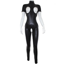 PU Leather S&M Sex Game Flirting BDSM Erotic Bodysuit Open Breast Crotchless Catsuits for Woman Couples Fetish Slave Sex Toys