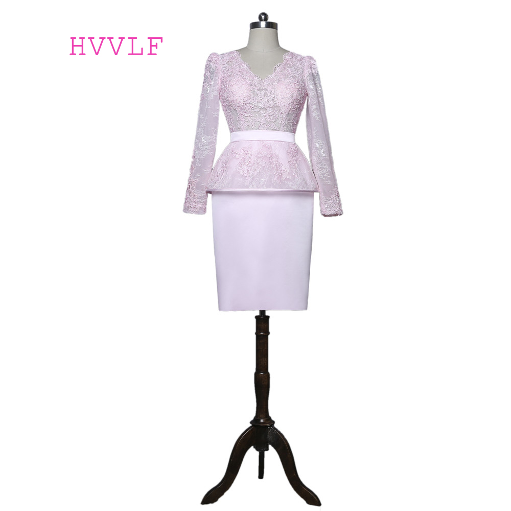 Pink 2019 Mother Of The Bride Dresses Sheath V-neck Long Sleeves Knee Length Lace Plus Size Groom Mother Dresses For Wedding
