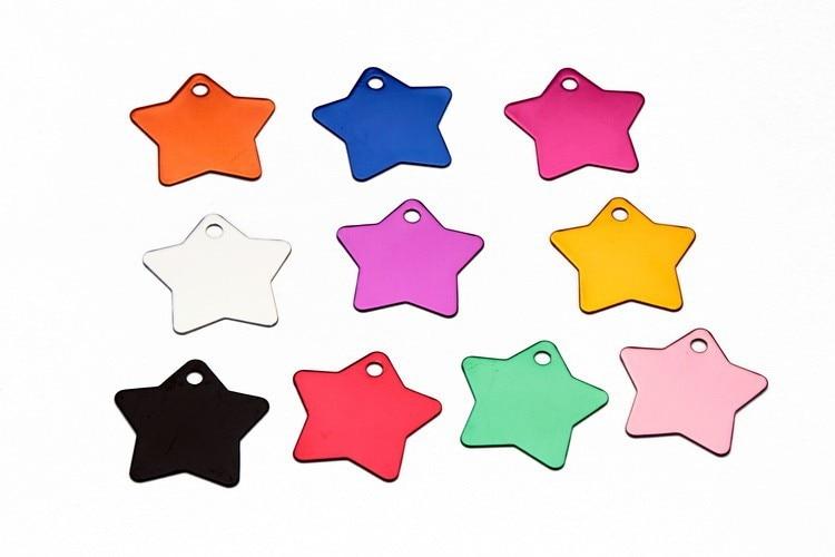 500 pcs pet ID tag, Aluminum dog cat tag,luggage tag star shape of tag personalized