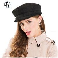 100%ウールフェルト黒帽子用女性秋冬文学英国軍事帽子レディー海軍フラット士官