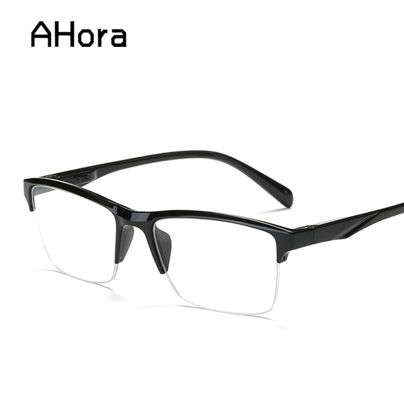 Ahora Ultralight Half Frame Reading Glasses Women Men Square Resin Presbyopic Glasses +0.25 0.5 0.75 1.25 1.5 2 1.75 2.25 3 3.5