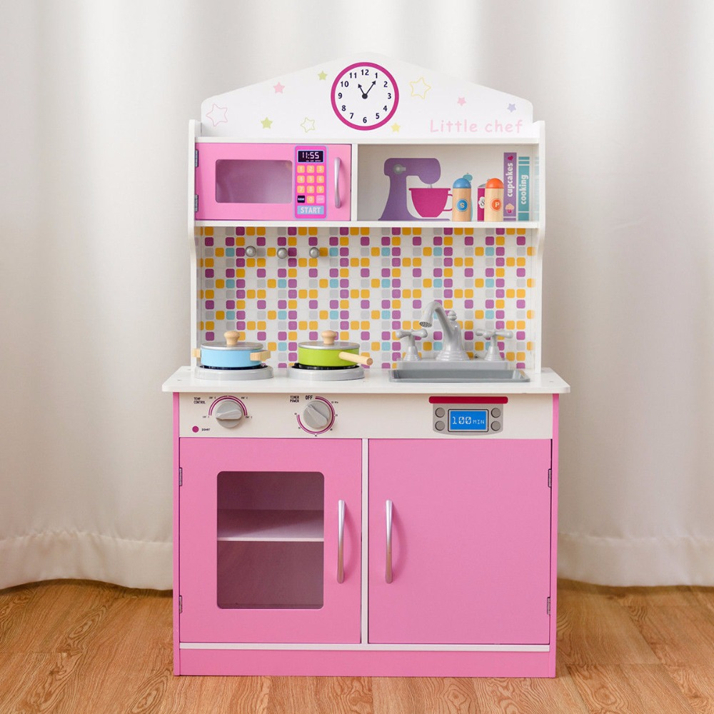 Giantex Kids Wooden Pretend Cooking Playset Cookware Play Set Kitchen Toys Toddler Gift Home Furniture HW58832 цена и фото