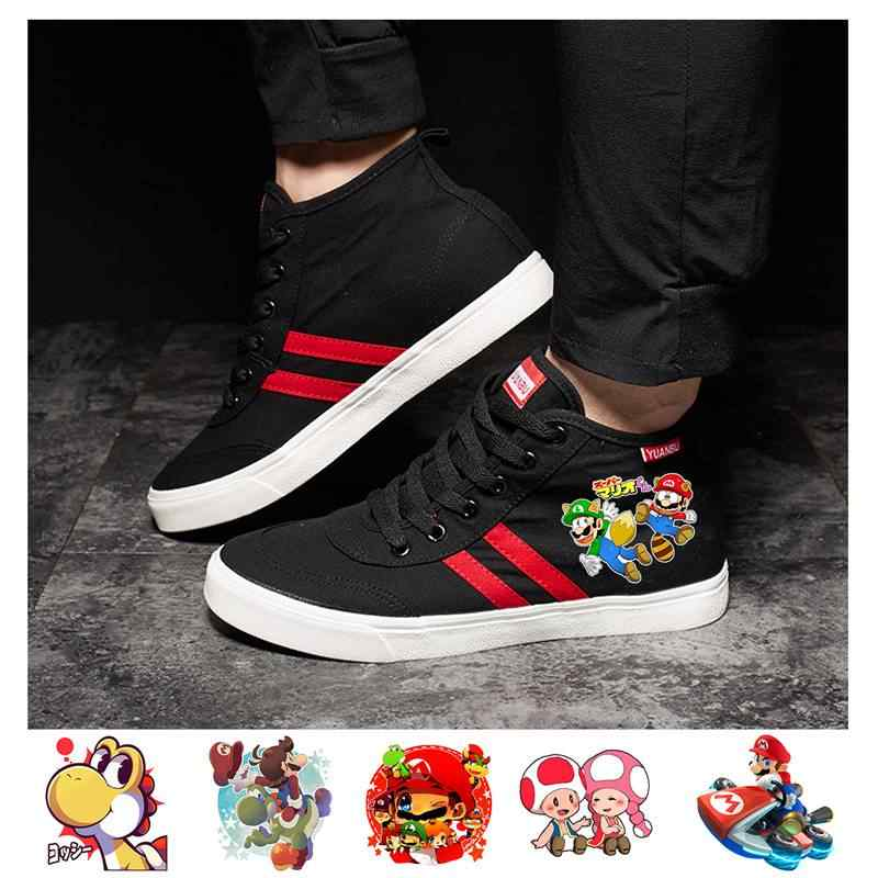 Game Mario Bros Animated Cartoon Long-distance Canvas Shoes Men INS British Casual Wild Fashion Running Men's Shoes A193161