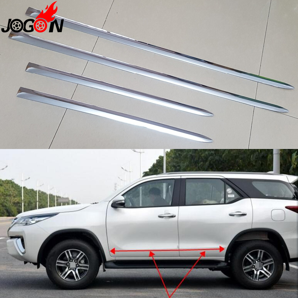 For toyota fortuner 2016 2017 car side door body trim abs chrome molding plate cover sticker