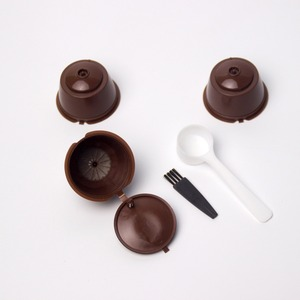 Image 2 - 3 pcs Reusable Nescafe Dolce Gusto Coffee Capsule Filter Cup Refillable Caps Spoon Brush Filter Baskets Pod Soft Taste Sweet