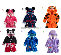 BSY001 Free Shipping Children Pajamas Robe New Kids Micky Minnie Mouse Bathrobes Baby Cartoon Home Wear
