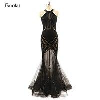 Real Picture Sexy Black Evening Dresses Long Halter Mermaid Transparent Tulle Prom Dresses Vestido de Fiesta ASAE49