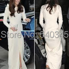 Evening-Dresses Celebrity Kate Middleton Red Jewel-Neck Jenny Long-Sleeve K13 Packham