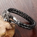 Men Fashion Jewelry Black Leather Rope Braided Bracelet Stainless Steel Hand Chain Dragon Design Man Vintage Accessories LPH1022