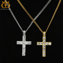 Men Women AAA Rhinestone Cross Pendant Gold Silver Alloy Material Iced out Pendants Necklace Chain Fashion Hip Hop Jewelry