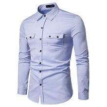 Летняя брендовая мужская Повседневная рубашка новая мужская Однотонная рубашка с отворотом Повседневная Мягкая дышащая мужская деловая рубашка с длинным рукавом